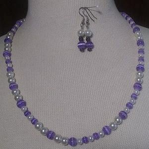 Jewelry - Pearl and Purple Necklace Earring Set
